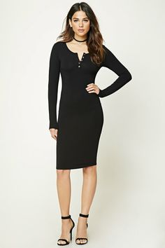A slub knit midi dress featuring a Henley neckline, long sleeves, and a bodycon silhouette.