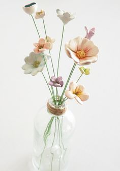 Ceramic flowers 10 mixed handmade teeny tiny by BronsCeramics