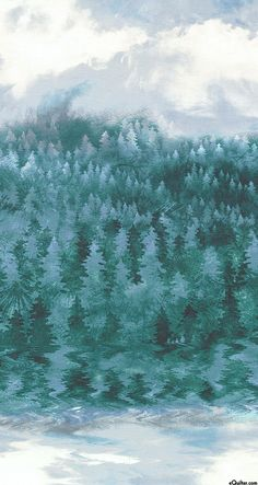 Enchanted Pines - Ombre Forest Stripe - Blue Spruce