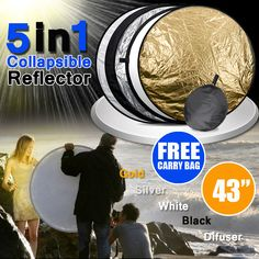 """43"""" 110cm 5-in-1 Photo Photography Light Mulit Disc Collapsible Reflector"""