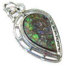 $79.15 Galaxy Queen! Multicolor Ammolite Sterling Silver Pendant at www.SilverRushStyle.com #pendant #handmade #jewelry #silver #ammolite