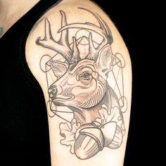 Deer Tattoo by Classic Trilogy Tattoo (Thom Bulman & Derek Zielinski) Ink Master Tattoos, Black Ink Tattoos, Deer Tattoo, I Tattoo, Geometric Tattoo Inspiration, Ink Master Seasons, Spike Tv, Tattoo Illustration, Tattoo Images