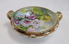 Hand painted antique porcelain Nippon bowl, wild roses & gold accents by tlgvintageart on Etsy
