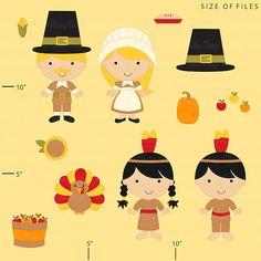 thanksgiving clipart clip art kids children by DigitalBakeShop