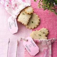 """Guests with a sweet tooth can pack a few lemon thyme cookies to go. Our """"berry stained"""" muslin satchels are almost as cute as the cookies, and they'll seal your status as the ultimate hostess. Cookie Party Favors, Party Favor Bags, Easter Cookies, Summer Cookies, Baby Cookies, Heart Cookies, Valentine Cookies, Birthday Cookies, Christmas Cookies"""