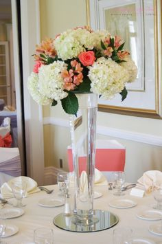 Deercreek Country Club, Coral & White Tall Floral Centerpiece Flowers: A Happily Ever After Floral