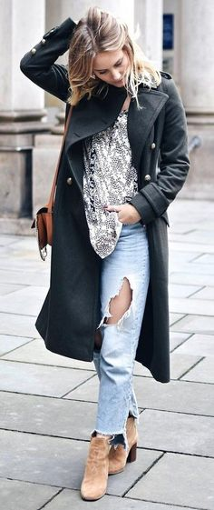 #winter #fashion /  Black Coat + White Lace Top