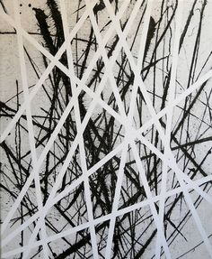 """Op 39.,"" black and white abstract painting by artist Gyula Sági 