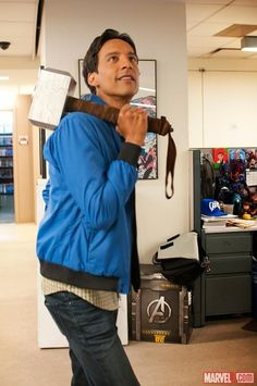 Danny Pudi Visited Marvel; Posed Whimsically