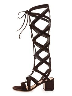 Black Suede Lace-up Knee High Gladiator Sandals | Choies