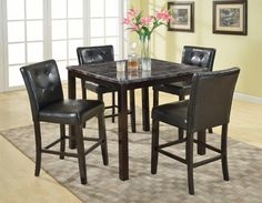 Roundhill Furniture Praia 5-Piece Artificial Dark Marble Top Pub Dining Table 4 Chairs Set