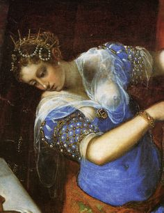 TINTORETTO - Jacopo Robusti, called Tintoretto. Judith and Holofernes. Detail. 1550-60. Oil on canvas. 188 x 251 cm. Museo del Prado, Madrid, Spain.