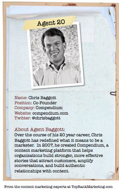 Bio for Secret Agent #20 @chrisbaggott  to see his content marketing secret visit tprk.us/cmsecrets