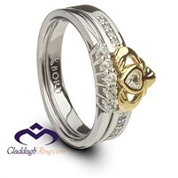 Silver and 10K Gold Ladies Claddagh Ring Set