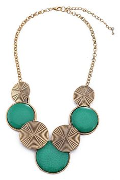 Green Stone Charm Short Necklace  romwe.com #romwe