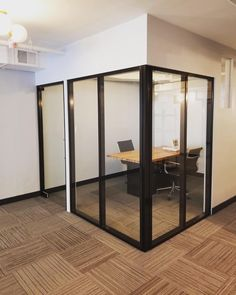 Wowza! Aluminum and glass turn any bland office space into stylish industrial haven. Sleek lines of black profiles, subtle, almost invisible glass panels create gorgeous design. Shoot us an email at sales@crystaliaglass.com for your free estimate 😉 #glasspartition #glasswalls #officepartition #officedesigns #officedecor #officedesignideas #glassdoor #interiordesignideas #officeinteriors #officeinspiration Glass Office Partitions, Glass Partition, Office Dividers, Office Decor, Invisible Glass, Glass Wall Design, Bedroom Divider, Partition Ideas, Office Walls