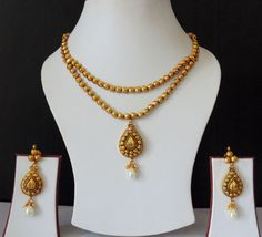 Indian Jewelry Bridal Victorian Gold Plated Pearls GorgeousNecklace Earrings Set #Indian