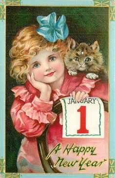 vintage new year post card so sweet and totally fitting with the ruche asthetic for free christmas toys arielle gabriels the international society of