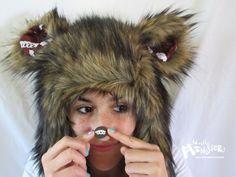 Yummmmmm...cupcakes! MEGA-Fuzzy Aviator hat Brown Husky Fur hat by MostlyMonstersCV