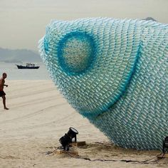 Fish sculpture from recycled plastic bottles