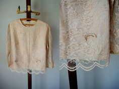 60s Pink Scalloped Lace Bow Blouse by cakeshopvintage on Etsy, $32.00