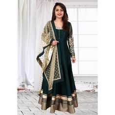 Startling Embroidered Dark Green Colored Pure Bhagalpuri Anarkali Suit at just Rs.3280/- on www.vendorvilla.com. Cash on Delivery, Easy Returns, Lowest Price.