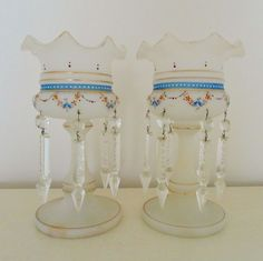Pair of Antique French Victorian Hand-Painted Bristol Opaline Glass Mantle Lusters Lustres Candle Holders