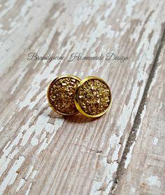 Druzy Earrings, 12 mm Druzy, Druzy Studs, Shiny Gold Earrings, Natural Color Druzy Earrings, Affordable Jewelry, Earth Jewelry by BrandywineHD on Etsy