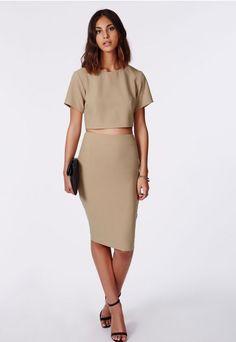 Alica Crepe Midi Skirt Taupe - Midi Skirts - Missguided
