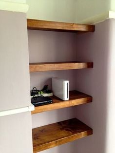 Alcove shelving made and installed Alcove Bookshelves, Alcove Desk, Bedroom Alcove, Alcove Cupboards, Alcove Shelving, Shelving Ideas, Bedroom Shelving, Alcove Storage, Bookcase
