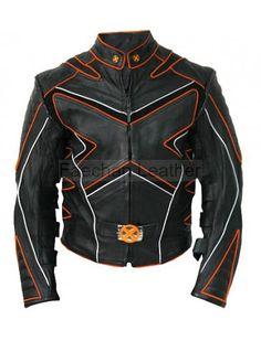 Graceful Men's Black Wolverine Style Leather Jacket