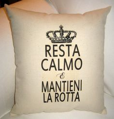 Keep Calm and Carry On Italian Pillow, Italy Inspired Cushion with French Crown, French Country Home Decor, Shabby Chic Neutral, Italian on Etsy, $17.99