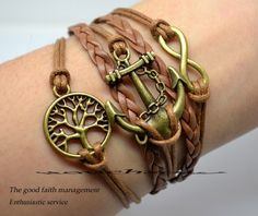 Anchor & Infinity Bracelet antique bronze wishing by itouchsoul, $6.99