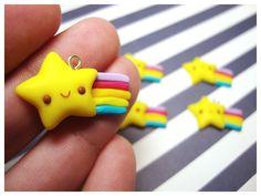 Polymer clay shooting star rainbow charms