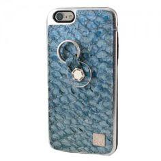 Carcasa iPhone 6 o 6S Plus Piel tilapia azul genuina. Finger 360 #carcasa #tilapia #anticaidas #anillo #Finger360 #liso #piel_tilapia #iphone6 #iphone6plus #azul #piel #funda_piel #natural