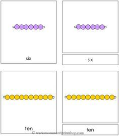 Montessori Bead Nomenclature Cards - Montessori Math Beads in 3-Part Cards (uses traditional Montessori bead colors and golden beads). Includes 1-10, unit, ten, hundred, thousand)