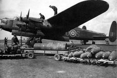Avro Lancaster Bomber being uploaded.