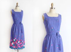 vintage 1960s Malia dress // 60s tulip floral cotton day dress