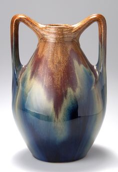 "PETER BEHRENS vase, 1903, stoneware with brown, ochre and cobalt blue blended glaze, manufactured by Merkelbach & Wick, marked ""Westerwälder new ceramic 2040"", 27 cm H. 