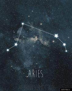 Aries constellation art print recreated from original illustration, stars and zodiac sign Arte Aries, Aries Art, Zodiac Art, Aries Zodiac, Aries Star Constellation, Star Constellations, Constellation Tattoos, Zodiac Star Signs, My Zodiac Sign