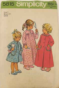 Vintage Sewing Pattern, Toddlers Robe and Nightgown, Size 2, Uncut. $10.00, via Etsy.