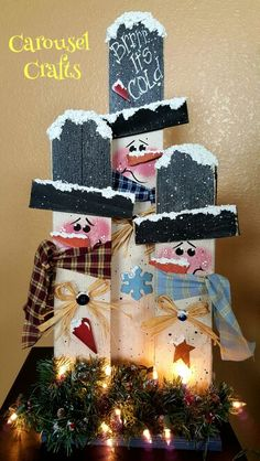Rustic Snowman craft.  Snowman wood craft.  Light up craft.