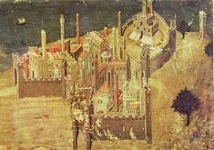 Ambrogio Lorenzetti - Veduta di città sul mare (Gli Effetti del Buono Governo nel contado), dettaglio - affresco - 1338-1339 - Siena - Palazzo Pubblico, Sala dei Nove o Sala della Pace - probabilmente il primissimo esperimento di raffigurazione a tema paesaggistico.