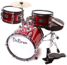 Buy De Rosa DRM312-RD Children's 3 Piece 12 Inch Drum Set with Chair (Red)    De Rosa Children's Drum Set is the quintessential drum kit for any young aspiring drummer. This set comes with everything your drummer will need to start playing.
