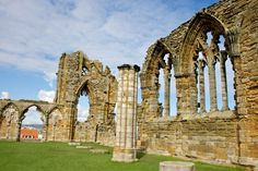 Places to see in ( Yorkshire - UK ) Whitby Abbey Whitby Abbey, Yorkshire Uk, Our Planet, World Traveler, Brooklyn Bridge, Notre Dame, Places To See, Cathedral, Building