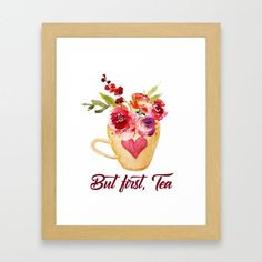 But first Tea, kitchen decor, Cottage kitchen, Instant download, digital download, watercolor print, typography print, home decor