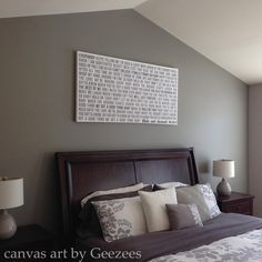 Canvas Word Art Faded Greys vows, lyrics Above Bed, custom personalized OOAK 36x48 gallery wrapped