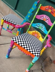 whimsical chairs, painted in bright bold and mismatched!