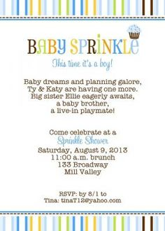 Modern Blue Cupcake Sprinkle Baby Shower Invitation with stripes in blue, lime, orange and brown (Multi Stripes) for couples baby shower From Little Angel Announcements