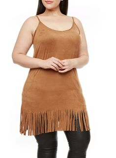 Rainbow Plus Size Faux Suede Spaghetti Strap Fringe Tunic Top | Go boho chic in this plus size tank! Features include a soft faux suede material, adjustable spaghetti straps, a V-neck and a graceful tunic length with fringes at the hem. Toss on your favorite pair of sheer leggings and a cropped jacket for undeniable style.